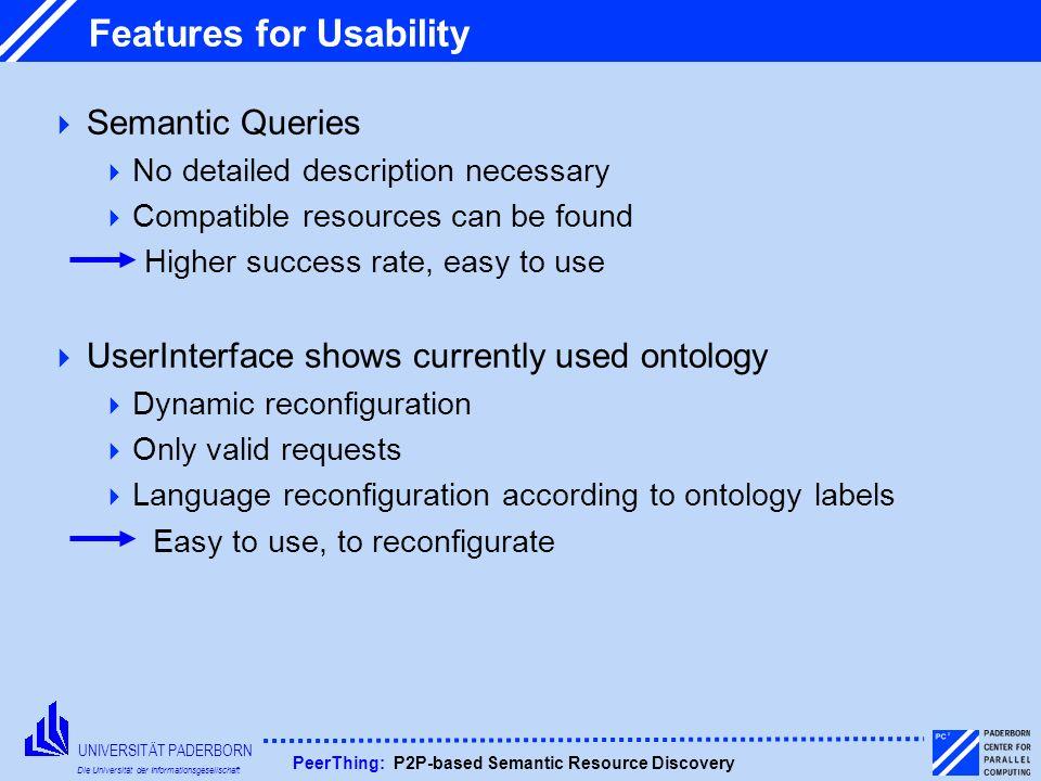 UNIVERSITÄT PADERBORN Die Universität der Informationsgesellschaft PeerThing: P2P-based Semantic Resource Discovery Features for Usability Semantic Qu