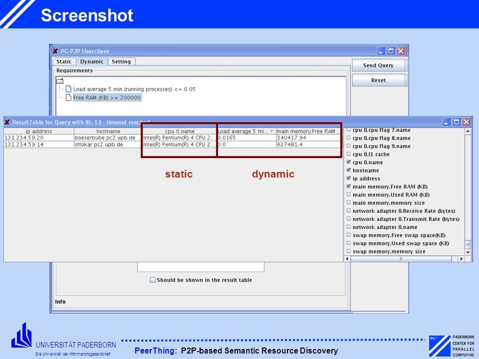 UNIVERSITÄT PADERBORN Die Universität der Informationsgesellschaft PeerThing: P2P-based Semantic Resource Discovery Screenshot staticdynamic
