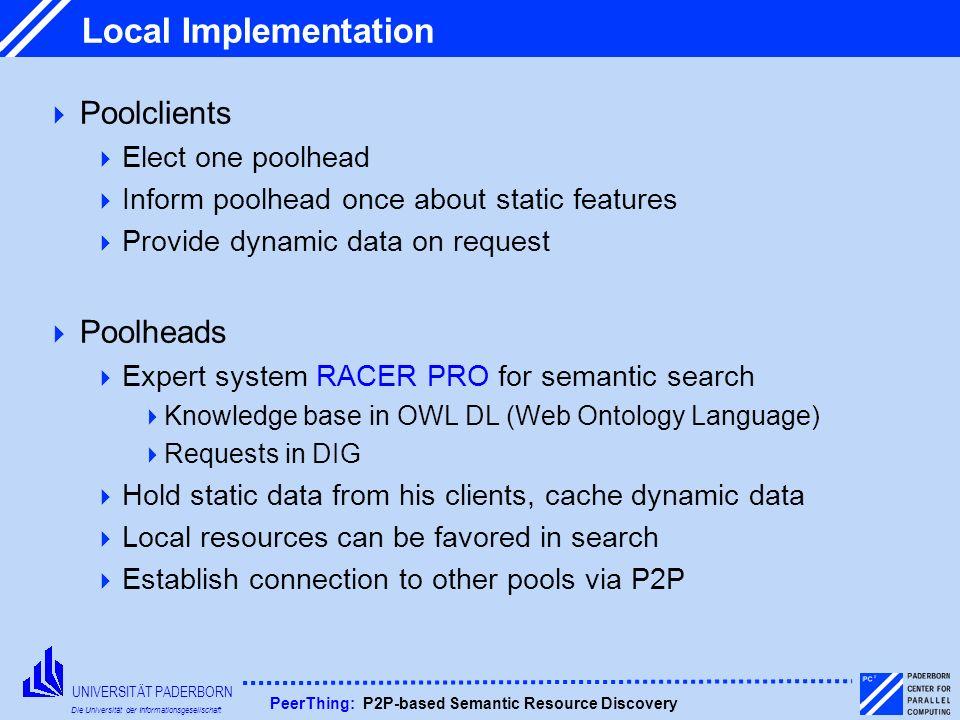 UNIVERSITÄT PADERBORN Die Universität der Informationsgesellschaft PeerThing: P2P-based Semantic Resource Discovery Local Implementation Poolclients E