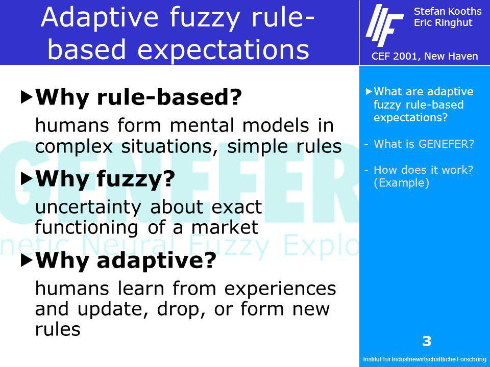 Institut für Industriewirtschaftliche Forschung Stefan Kooths Eric Ringhut CEF 2001, New Haven 3 Adaptive fuzzy rule- based expectations Why rule-based.