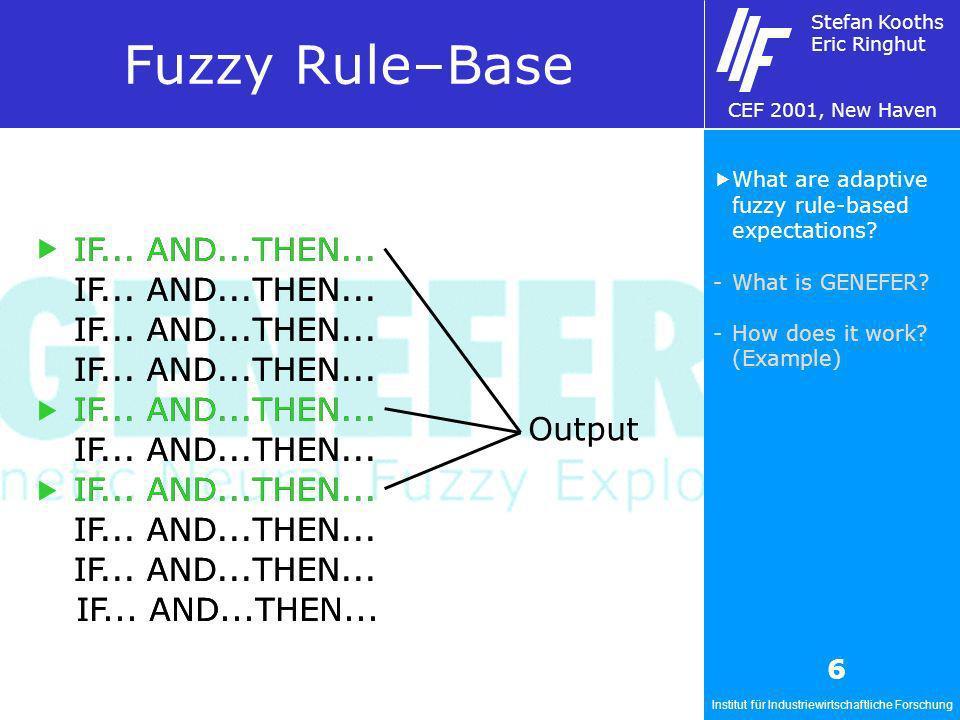Institut für Industriewirtschaftliche Forschung Stefan Kooths Eric Ringhut CEF 2001, New Haven 6 Fuzzy Rule–Base IF... AND...THEN... Output What are a