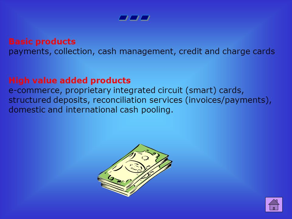 It is divided in many sections to provide a different range of services: Retail division provides services for households, professional people and small businesses Private Banking & AM Division deals with the Italian and foreign structures devoted to the Private Banking and the development of services of management of the investments, both to benefit of the networks of distribution of the GROUP and in by autonomous toward third parts Corporate/SME s Division deals with companies, credit institutions and foreign branches supplying financial services and instruments to medium and large sized companies and to government agencies.