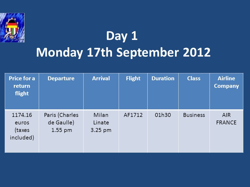 Day 1 Monday 17th September 2012 Flight from Paris to Milan Price for a return flight DepartureArrivalFlightDurationClassAirline Company 1174.16 euros