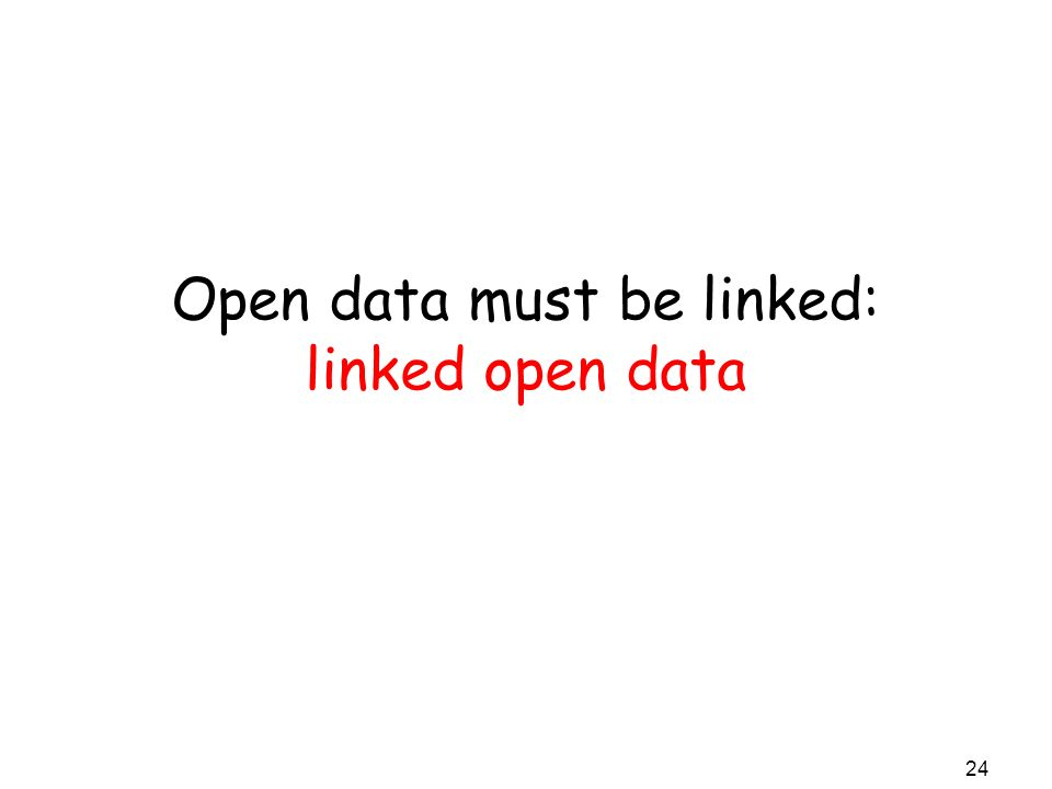 Open data must be linked: linked open data 24