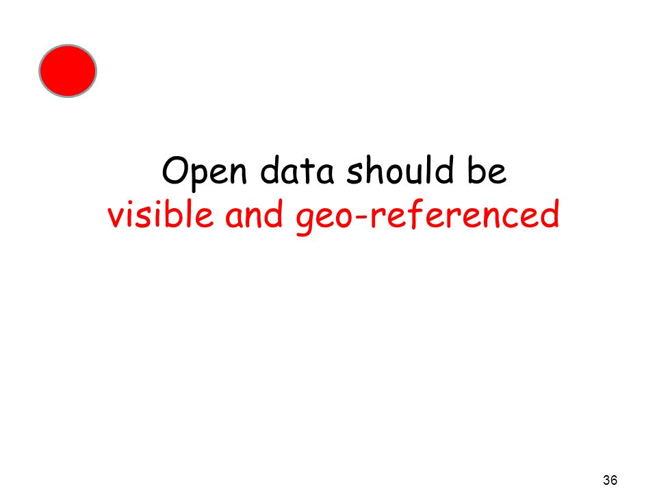 Open data should be visible and geo-referenced 36