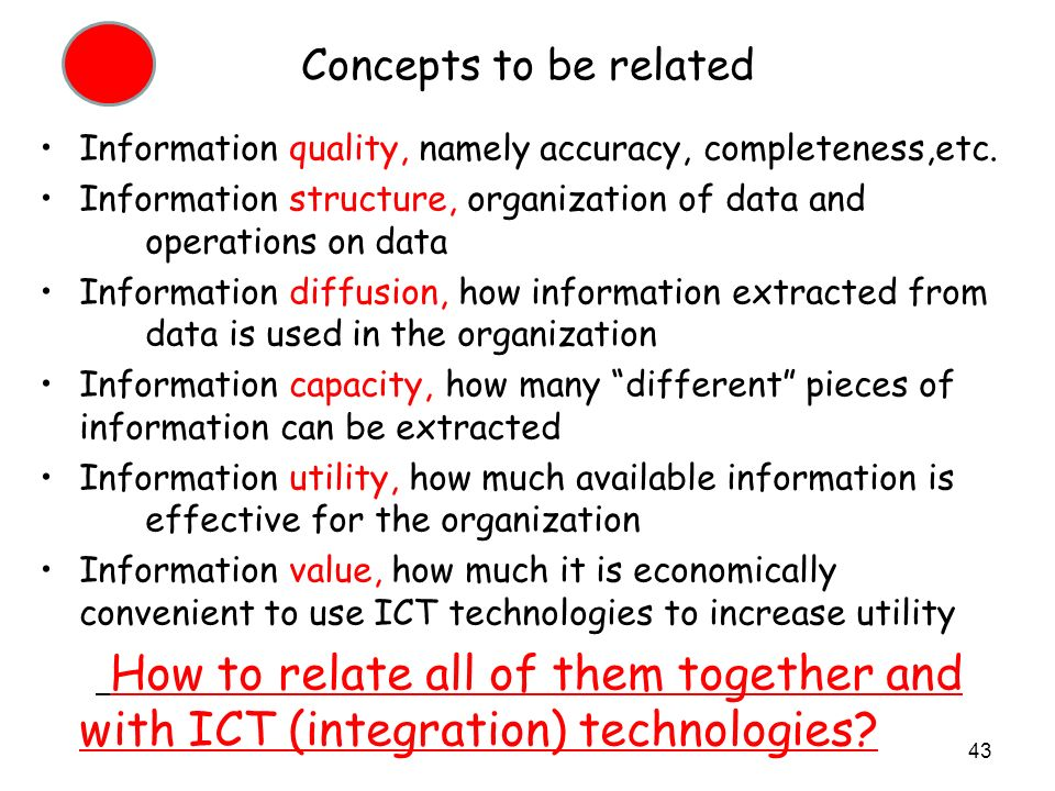 Concepts to be related Information quality, namely accuracy, completeness,etc.