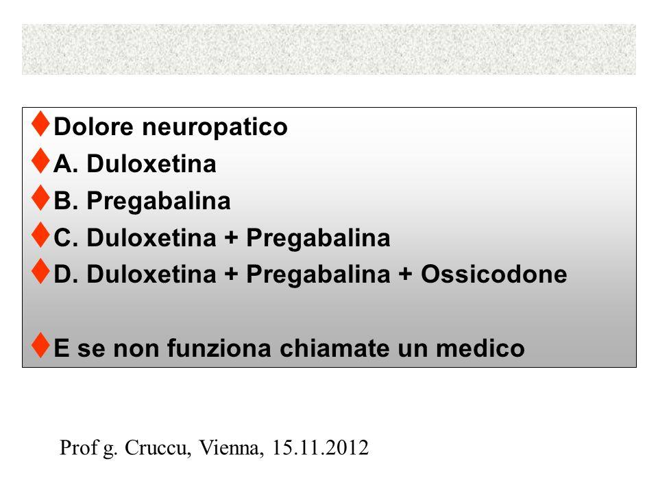 Dolore neuropatico A. Duloxetina B. Pregabalina C.
