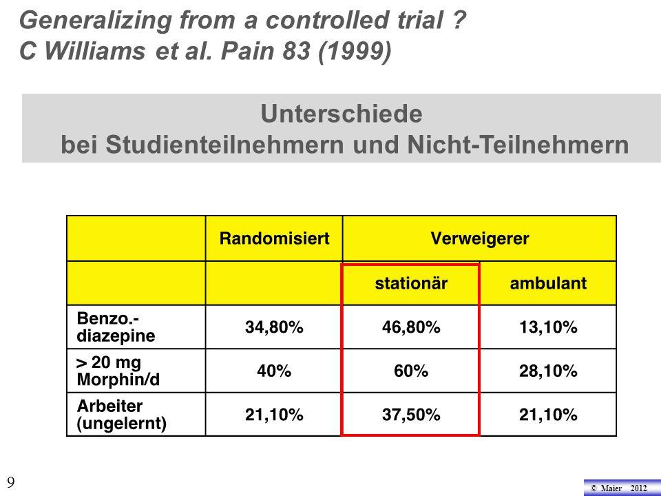 9 Unterschiede bei Studienteilnehmern und Nicht-Teilnehmern Generalizing from a controlled trial .