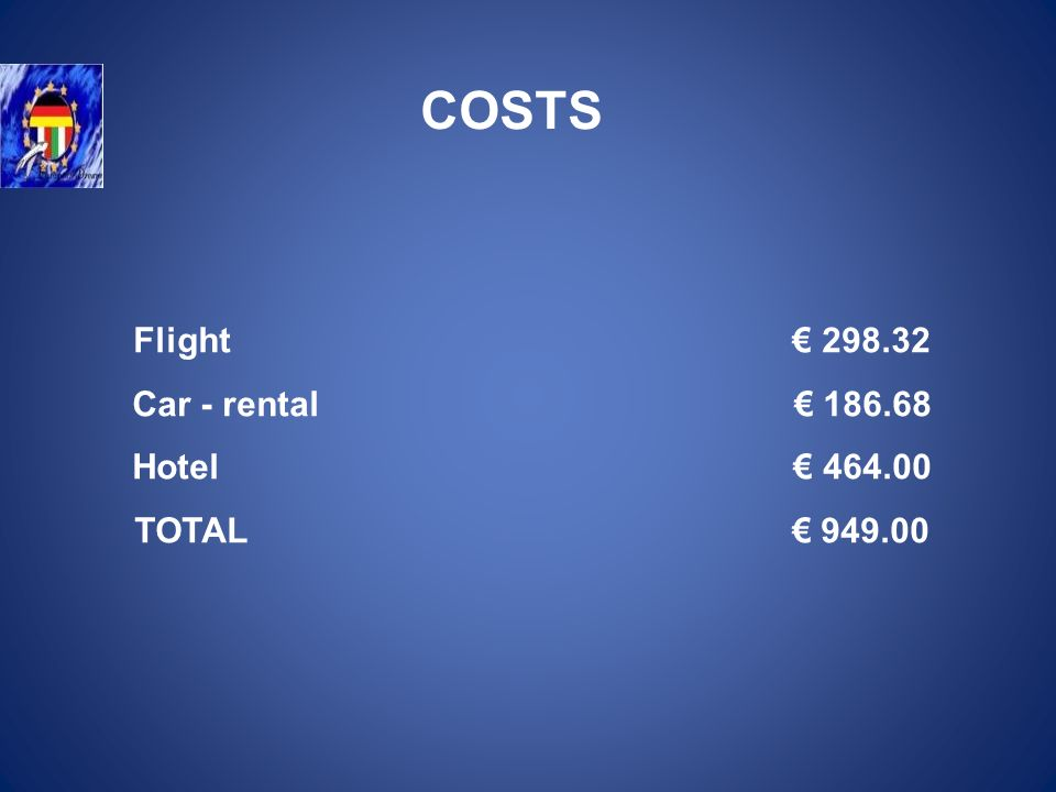 Flight 298.32 Car - rental 186.68 Hotel 464.00 TOTAL 949.00 COSTS