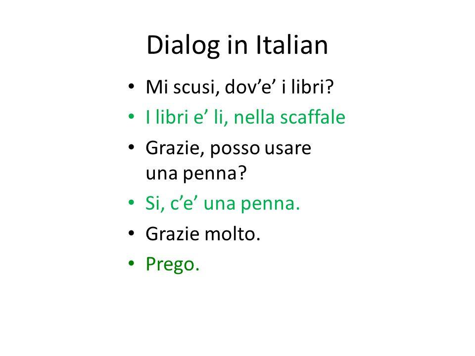 Dialog in Italian Mi scusi, dove i libri.