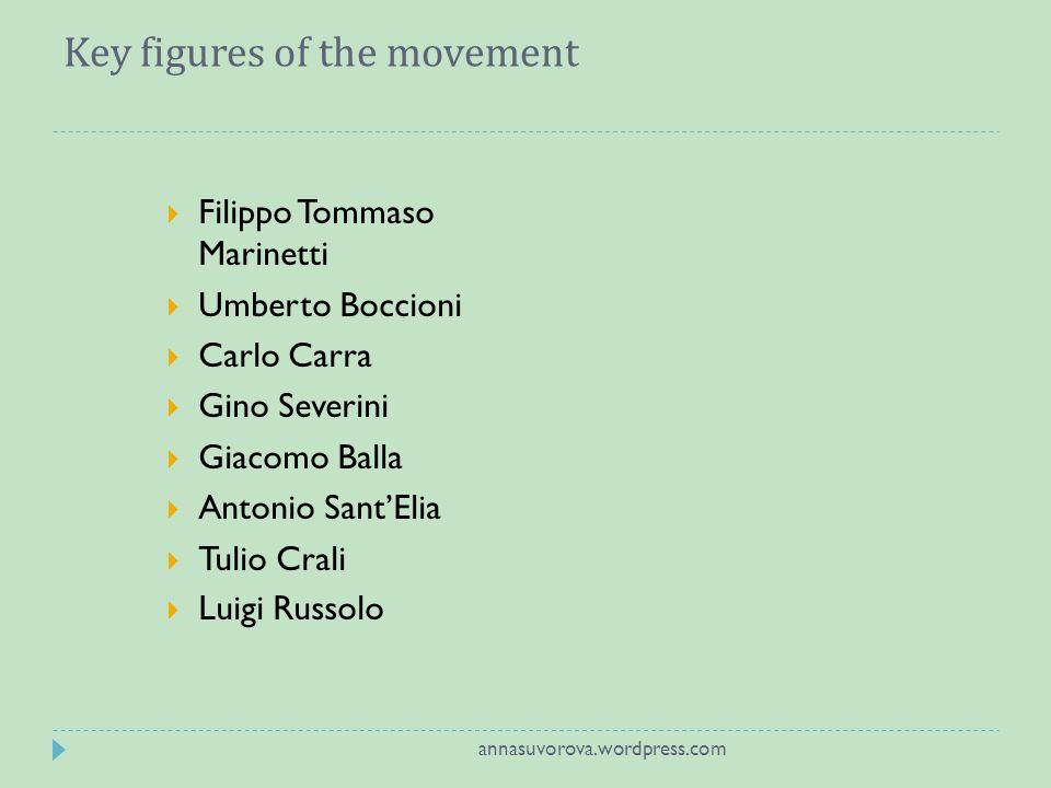 Key figures of the movement Filippo Tommaso Marinetti Umberto Boccioni Carlo Carra Gino Severini Giacomo Balla Antonio SantElia Tulio Crali Luigi Russolo annasuvorova.wordpress.com