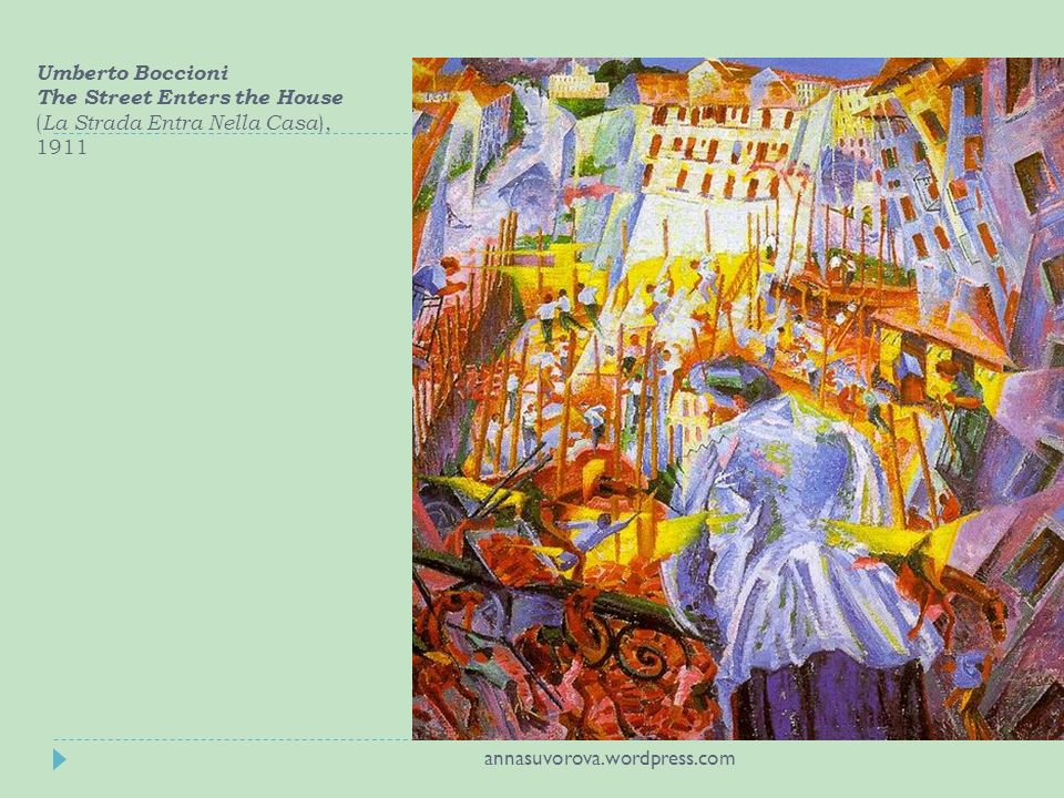 Umberto Boccioni The Street Enters the House ( La Strada Entra Nella Casa ), 1911 annasuvorova.wordpress.com