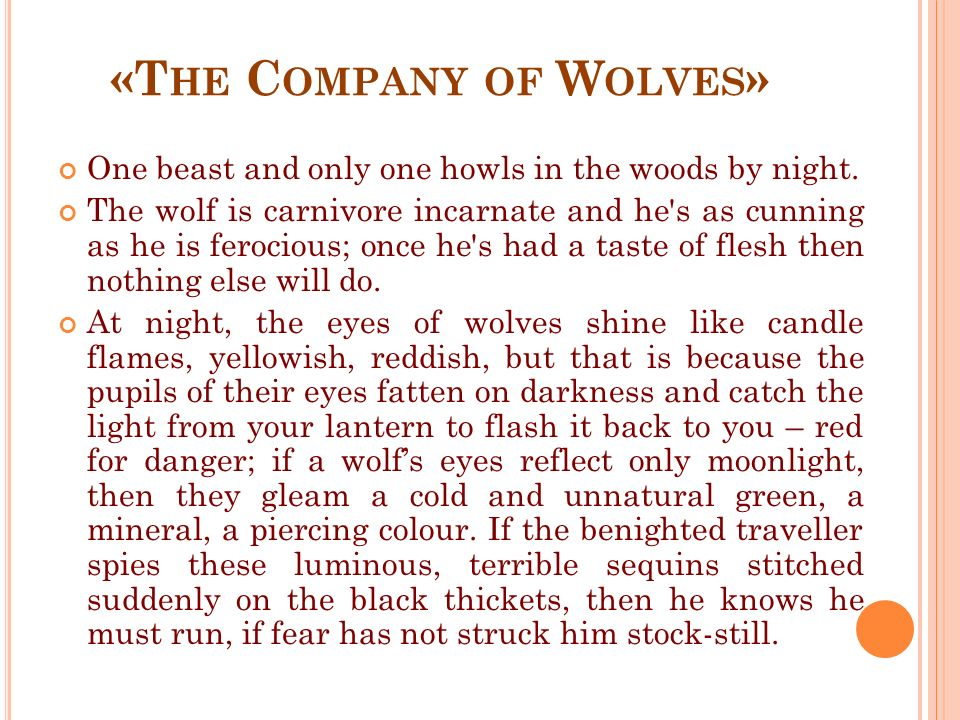 «T HE C OMPANY OF W OLVES » One beast and only one howls in the woods by night.