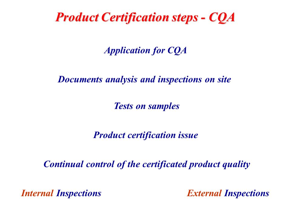 Continual control of the certificated product quality Application for CQA Documents analysis and inspections on site Tests on samples Product certific