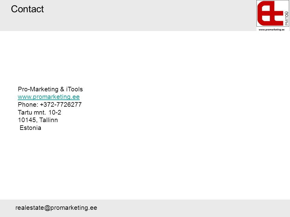 Contact Pro-Marketing & iTools   Phone: Tartu mnt.