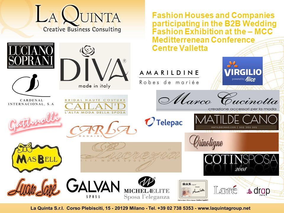 Fashion Houses and Companies participating in the B2B Wedding Fashion Exhibition at the – MCC Meditterrenean Conference Centre Valletta