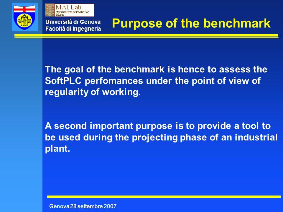 Università di Genova Facoltà di Ingegneria Purpose of the benchmark Genova 28 settembre 2007 The goal of the benchmark is hence to assess the SoftPLC