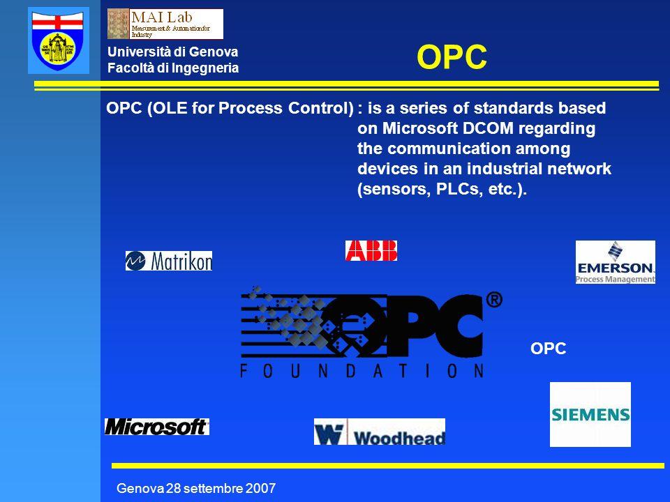 Università di Genova Facoltà di Ingegneria OPC Genova 28 settembre 2007 OPC (OLE for Process Control): is a series of standards based on Microsoft DCO