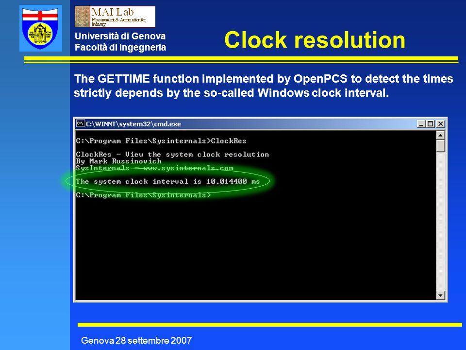 Università di Genova Facoltà di Ingegneria Clock resolution Genova 28 settembre 2007 The GETTIME function implemented by OpenPCS to detect the times s