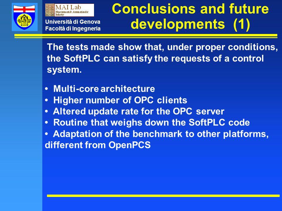 Università di Genova Facoltà di Ingegneria Conclusions and future developments (1) The tests made show that, under proper conditions, the SoftPLC can