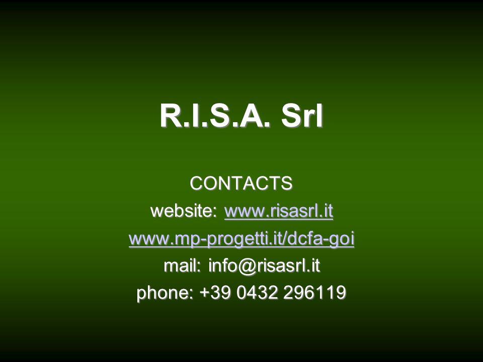 R.I.S.A. Srl CONTACTS website: w w w w w wwww wwww.... rrrr iiii ssss aaaa ssss rrrr llll.... iiii tttt wwww wwww wwww.... mmmm pppp ---- pppp rrrr oo