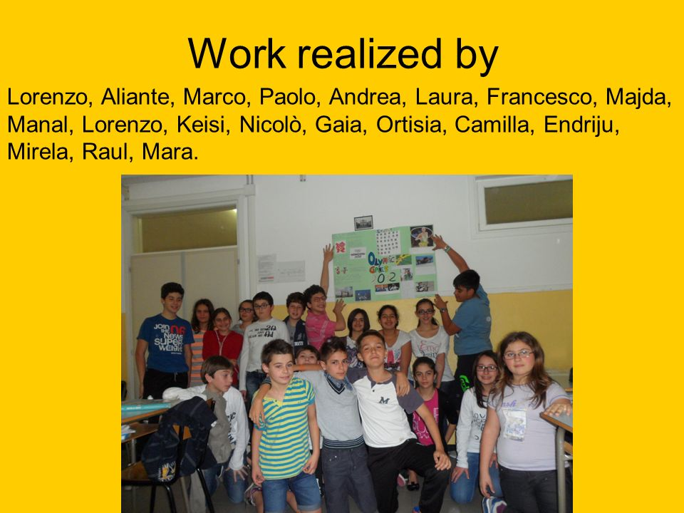 Work realized by Lorenzo, Aliante, Marco, Paolo, Andrea, Laura, Francesco, Majda, Manal, Lorenzo, Keisi, Nicolò, Gaia, Ortisia, Camilla, Endriju, Mirela, Raul, Mara.