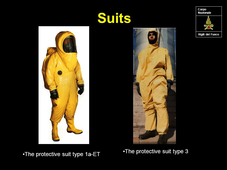 Suits Vigili del Fuoco Corpo Nazionale The protective suit type 3 The protective suit type 1a-ET