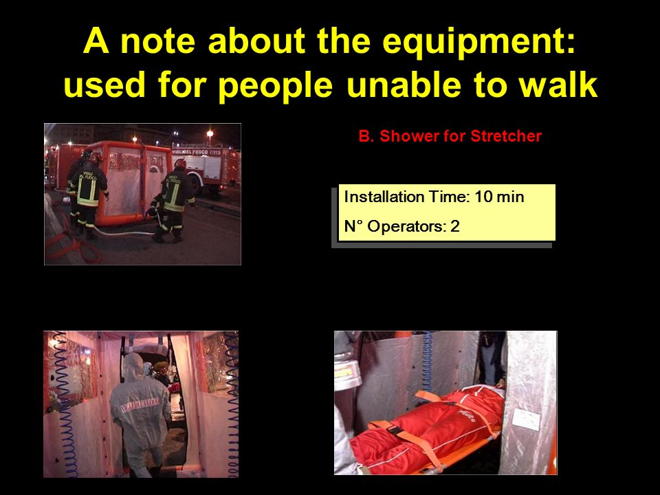 A note about the equipment: used for people unable to walk B.