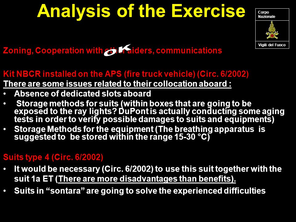 Analysis of the Exercise Kit NBCR installed on the APS (fire truck vehicle) (Circ.
