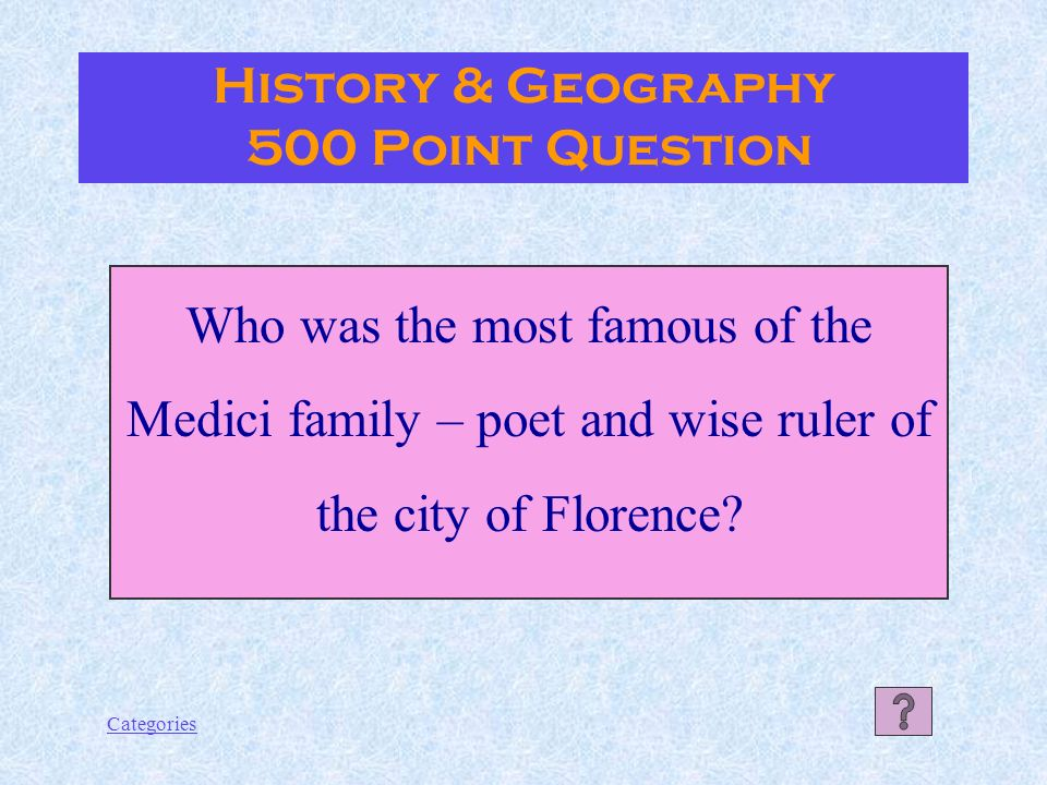 Categories The Etruscans History & Geography 400 Point Answer
