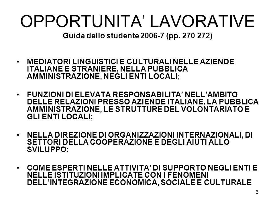 5 OPPORTUNITA LAVORATIVE Guida dello studente 2006-7 (pp.