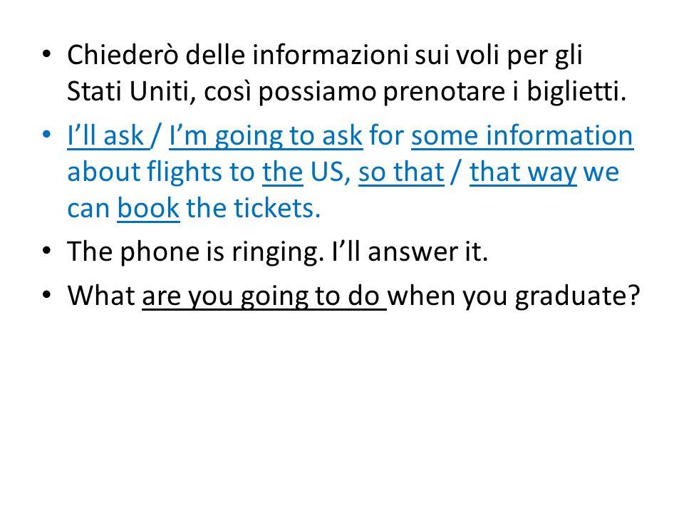 Chiederò delle informazioni sui voli per gli Stati Uniti, così possiamo prenotare i biglietti. Ill ask / Im going to ask for some information about fl