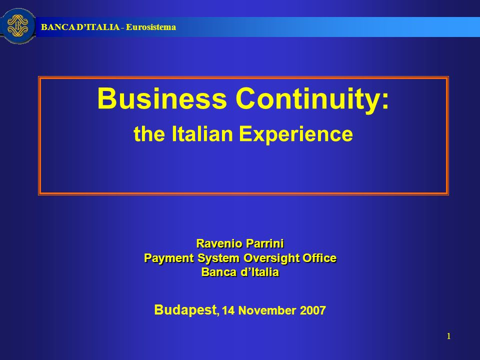 BANCA DITALIA - Eurosistema 12 1 Business continuity initiatives in Italy 2 Specific rules issued by Banca dItalia 3 CODISE: the National Joint Working Group 4 Summing up Index