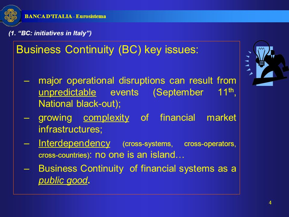 BANCA DITALIA - Eurosistema 5 The Italian Framework: two-layers approach 1.Single infrastructure/institution: i.e.