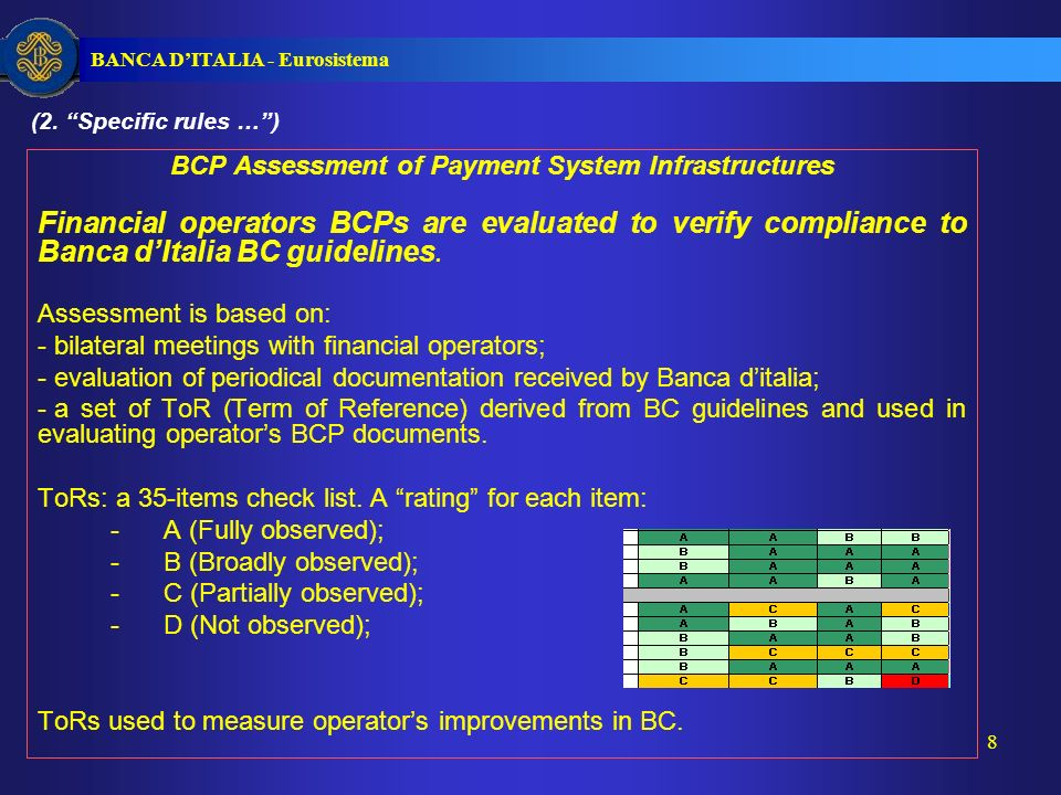 BANCA DITALIA - Eurosistema 8 BCP Assessment of Payment System Infrastructures Financial operators BCPs are evaluated to verify compliance to Banca dItalia BC guidelines.