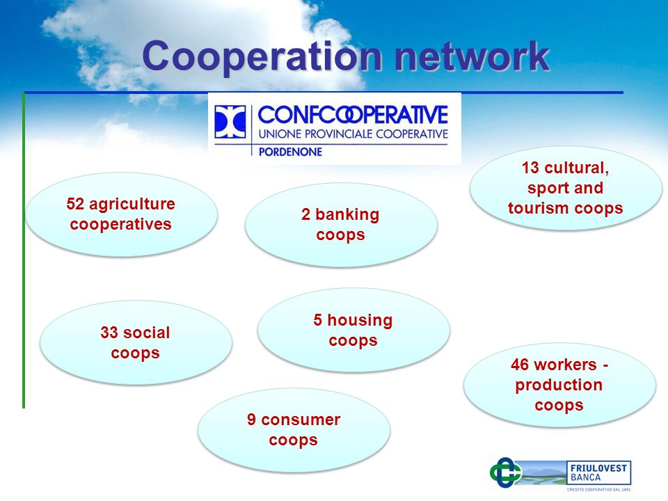 52 agriculture cooperatives 46 workers - production coops 13 cultural, sport and tourism coops 33 social coops 9 consumer coops 2 banking coops 5 housing coops