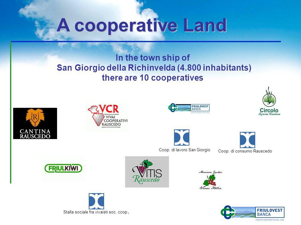 In the town ship of San Giorgio della Richinvelda (4.800 inhabitants) there are 10 cooperatives A cooperative Land A cooperative Land Stalla sociale f
