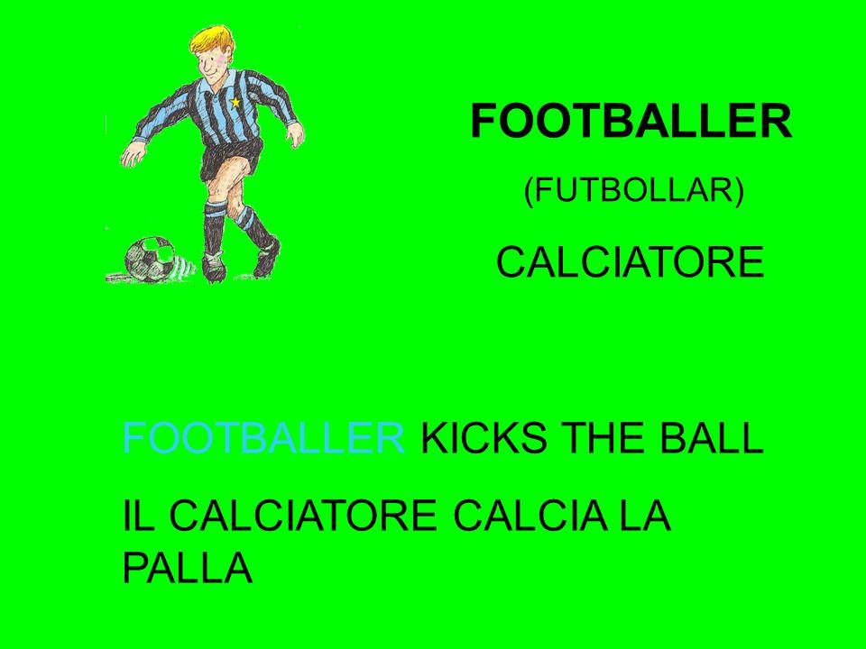 FOOTBALLER (FUTBOLLAR) CALCIATORE FOOTBALLER KICKS THE BALL IL CALCIATORE CALCIA LA PALLA