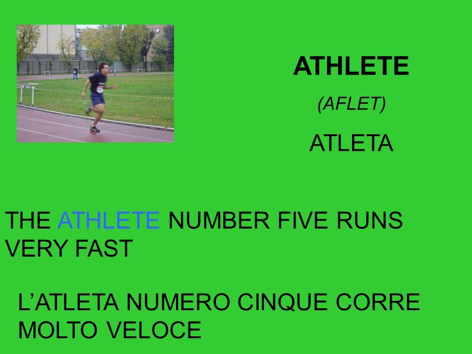 ATHLETE (AFLET) ATLETA THE ATHLETE NUMBER FIVE RUNS VERY FAST LATLETA NUMERO CINQUE CORRE MOLTO VELOCE
