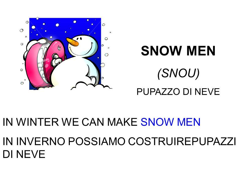 SNOW MEN (SNOU) PUPAZZO DI NEVE IN WINTER WE CAN MAKE SNOW MEN IN INVERNO POSSIAMO COSTRUIREPUPAZZI DI NEVE