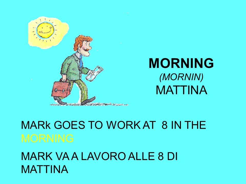 MORNING (MORNIN) MATTINA MARk GOES TO WORK AT 8 IN THE MORNING MARK VA A LAVORO ALLE 8 DI MATTINA