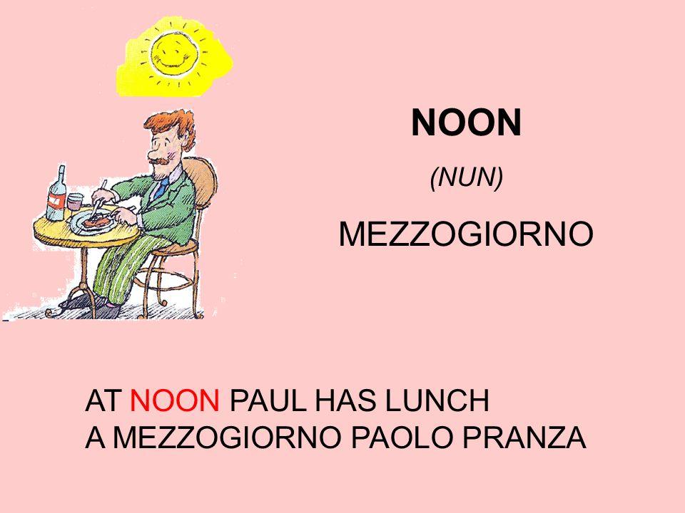 NOON (NUN) MEZZOGIORNO AT NOON PAUL HAS LUNCH A MEZZOGIORNO PAOLO PRANZA