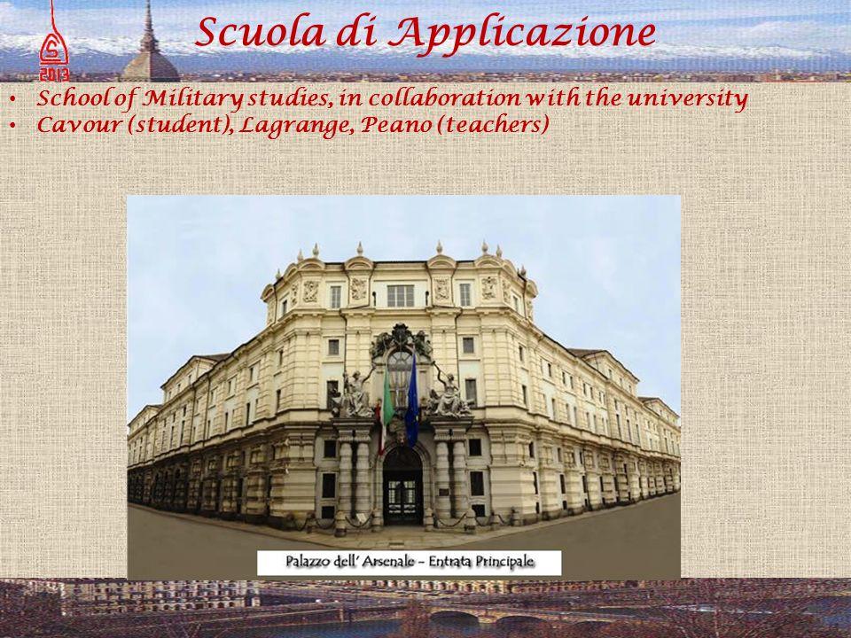 Scuola di Applicazione School of Military studies, in collaboration with the university Cavour (student), Lagrange, Peano (teachers)