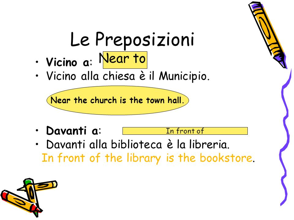 Le Preposizioni Vicino a: Vicino alla chiesa è il Municipio. Davanti a: Davanti alla biblioteca è la libreria. In front of the library is the bookstor