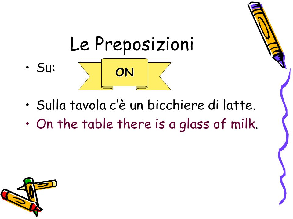 Le Preposizioni Su: Sulla tavola cè un bicchiere di latte. On the table there is a glass of milk. ON