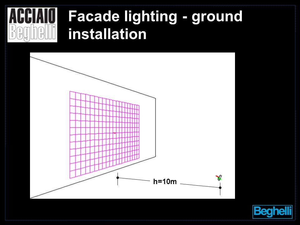h=10m Facade lighting - ground installation