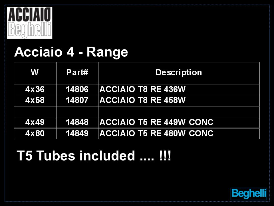 Acciaio 4 - Range T5 Tubes included.... !!!