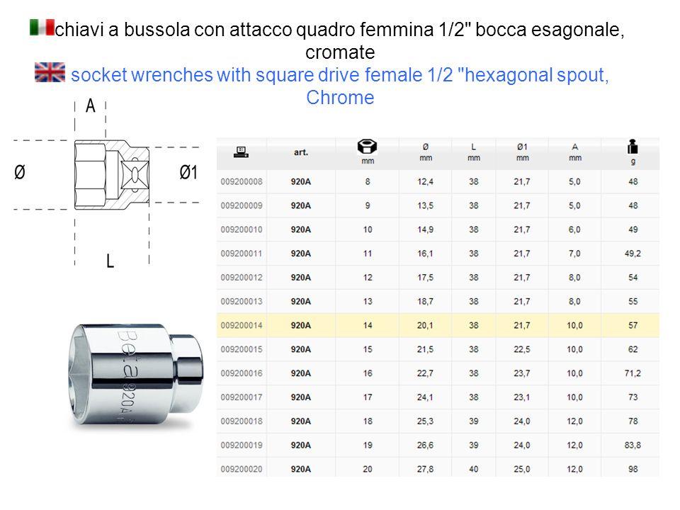 chiavi a bussola con attacco quadro femmina 1/2 bocca esagonale, cromate socket wrenches with square drive female 1/2 hexagonal spout, Chrome
