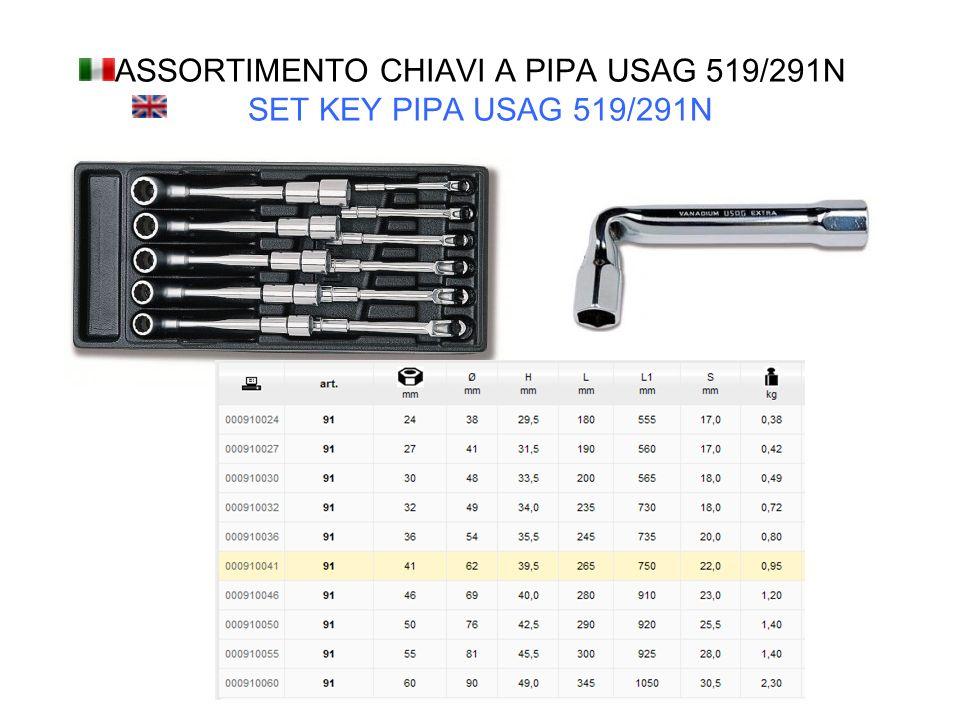 ASSORTIMENTO CHIAVI A PIPA USAG 519/291N SET KEY PIPA USAG 519/291N
