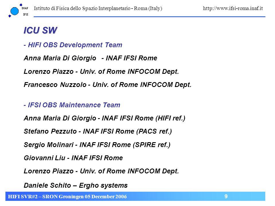 Istituto di Fisica dello Spazio Interplanetario - Roma (Italy) http://www.ifsi-roma.inaf.it HIFI SVR#2 – SRON Groningen 05 December 2006 9 ICU SW - HI